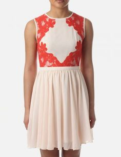 Bridemaid dress i like. :) Ted Baker Lace Detail Womens Colour Block Dress Natural #DiffusionNewArrivals