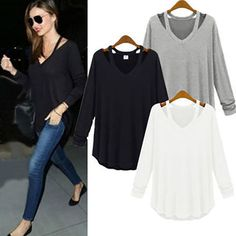 Women's Ladies Long Sleeve T Shirts Blouse Top New Fashion Casual Loose Tee Tops