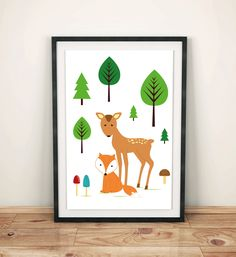Poster print fox and deer in the forest, kids room art, wall art decor, animal prints, nursery wall art, simple design, graf poster by GrafPoster on Etsy