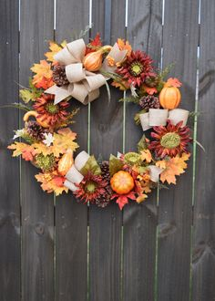 Fall Wreath, Thanksgiving Grapevine with Burlap Bows, Pinecones, and Autumn Gourds (#2) by HoneybeebyHagan on Etsy https://www.etsy.com/listing/478118589/fall-wreath-thanksgiving-grapevine-with