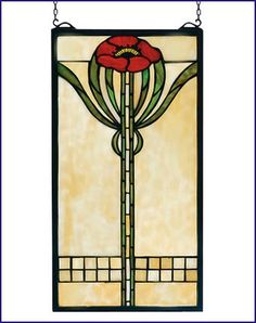 Arts and Crafts Parker Poppy Stained Glass Panel - I've got two of these in my kitchen window - love them!