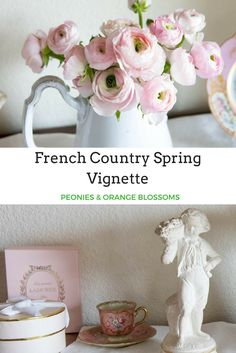Use fresh flowers to create the perfect french country vignette - french country farmhouse decor ideas