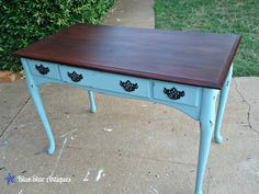turned an old desk into a cool chic desk using annie sloan chalk paint