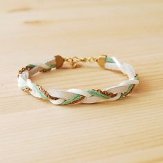 Leather & Brass Braided Bracelet in White and by sonofasailor, $28.00