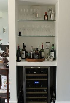 Elegant Turn Nook Or Closet Into Liquor Cabinet/wine Storage. From Living With  Kids: Victoria Larson(Diy Bar With Mini Fridge)