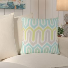 Beachcrest Home Lake Sarasota Geometric Indoor/Outdoor Throw Pillow & Reviews | Wayfair