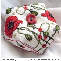 Poppy Biscornu  COUNTED CROSS STITCH CHART BY FABY REILLY DESIGNS