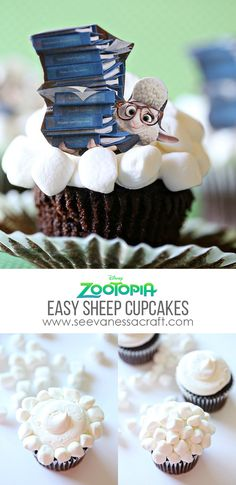 Disney Zootopia Assistant Mayor Bellwether Easy Sheep Cupcakes Tutorial - fun for parties!