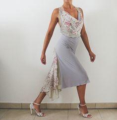 Pearl grey Tango open back dress for dance party Milonga  tango performance