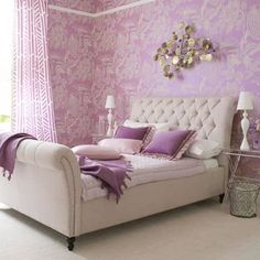 Purple for the bedroom. We would have a darker purple on the walls and we have the same style bed - Sleigh Bed but ours is a oak wood!