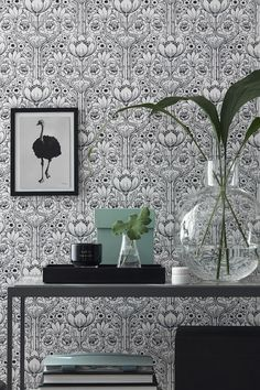 Eco Wallpaper Black & White Rosegarden 6086