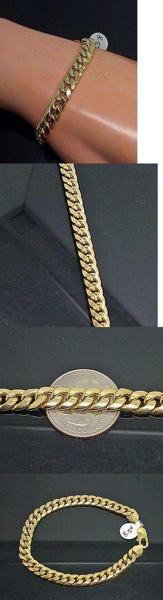 Men Jewelry: Men S 10K Yellow Gold Cuban Bracelet 7.5Mm Width, 7.5 Inch Long,Franco,Real Gold -> BUY IT NOW ONLY: $290 on eBay!