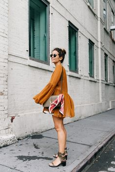 Blouse_Mustard-Isabel_marant_Sandals-Topknot-Outfit-Street_Style-7