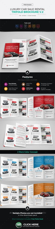 Rent A Car Brochure Templates  Brochure Template Brochures And