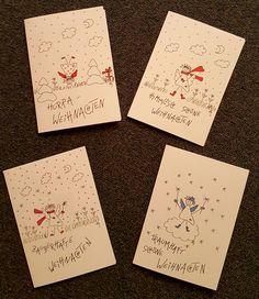 Weihnachtskarten - Grußkarten Set Weihnachten  - ein Designerstück von textatelier bei DaWanda