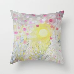 Pink Polka Dot Sky Lights Throw Pillow by RokinRonda - $20.00