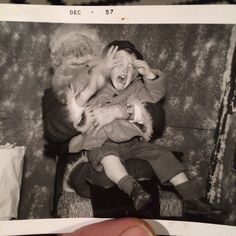 Child terrified of Santa. Original black-and-white 1950s photograph. Collection of Stephen Parfitt, Springfield Illinois.