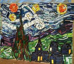 Starry Night mosaic made from old crayons!