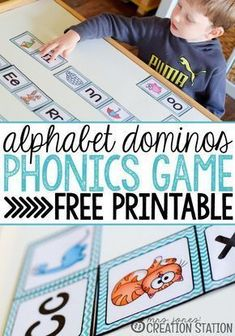Alphabet dominos is a great phonics game to teach beginning reading to your preschoolers and kindergarteners. Students will definitely enjoy playing this free printable phonics game together in a large or small group of students. Alphabet Phonics, Teaching The Alphabet, Teaching Phonics, Learning Letters, Free Phonics Games, Teaching Resources, Phonics For Preschool, Printable Alphabet, Primary Teaching