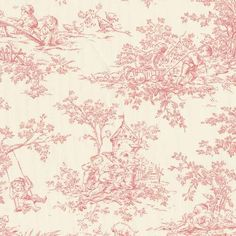 Blush Toile Fabric | Discount Pink and Off-White Toile Fabric by the Yard | Carousel Designs