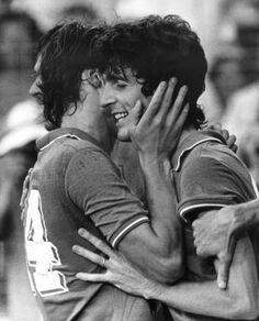 Marco Tardelli & Paolo Rossi celebrate Rossi's first goal against West Germany during the 1982 World Cup final.