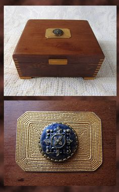 Vintage Wooden Jewelry Keepsake Box . Dovetail Joints . Brass & Metal…