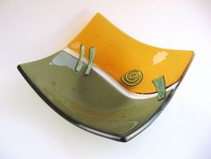 Green Glass Bowl Fused Olive Square Gold by DawnofCreationGlass