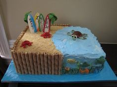 Maybe I could make this into a Teen Beach Movie cake for Emma. Looks simple. (fun birthday cakes for teens) Cupcakes, Cake Cookies, Cupcake Cakes, Beach Themed Cakes, Beach Cakes, Surfer Cake, Ocean Cakes, Movie Cakes, Dessert Simple