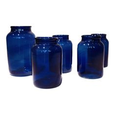 France  early 1900's  These beautiful blue glass bottles were used in a French canning factory.