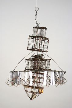"""Emery Blagdon, """"Untitled"""" (date unknown; discovered in 1986), wire,  metallic foil, found metallic machine parts, dimensions variable (courtesy  of ..."""