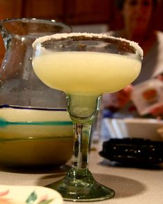 Margaritas:  Pour can of limeade into the blender and add can 2/3 of tequila and 1/3 of triple sec, and then lots of ice.  Blend til slushy.  Then stir in one bottle of beer.  Serve in salt rimmed glasses.
