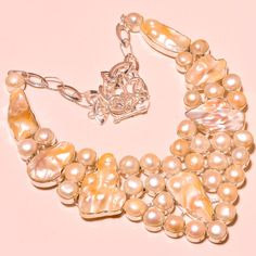 """BIWA PEARL WITH RIVER PEARL EXCELLENT SILVER JEWELRY NECKLACE 18"""" #Handmade #Choker"""