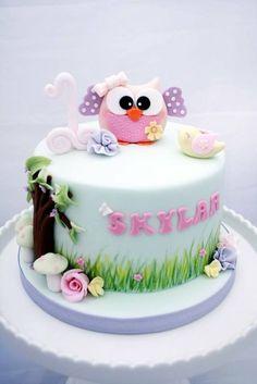 Owl birthday cake - by GoGoSugar @ CakesDecor.com - cake decorating website