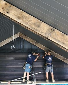 The reclaimed wharf timbers we salvaged from Docklands in Melbourne were shipped to NSW for a sustainable domestic project by Saltbox Building Co. #australianarchitects #australianbuilders #sustainablebuilding #greenbuilding