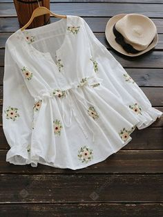 Buy Drawstring Waist Notched Floral Blouse, sale ends soon. Be inspired: discover affordable quality shopping on Gearbest Mobile! Trend Fashion, Teen Fashion Outfits, Trendy Outfits, Fashion Dresses, Womens Fashion, Mode Abaya, Mode Hijab, Cute Blouses, Blouses For Women