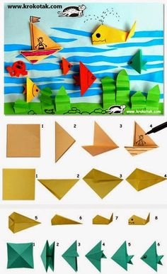 Sempre criança: Encontrado em krokotak.com Art N Craft, Kids Crafts, Summer Crafts, Preschool Crafts, Elementary Art, Whale Origami, Origami Boat, Origami Fish, Kids Origami