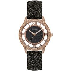 GUESS Black and Rose Gold-Tone Watch ($105) ❤ liked on Polyvore featuring jewelry, watches, rose gold tone watches, analog watches, guess jewellery, rose gold tone jewelry and analog wrist watch