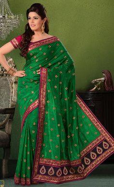$79.43 Green Embroidered Dhuppian Silk Wedding Saree 23743