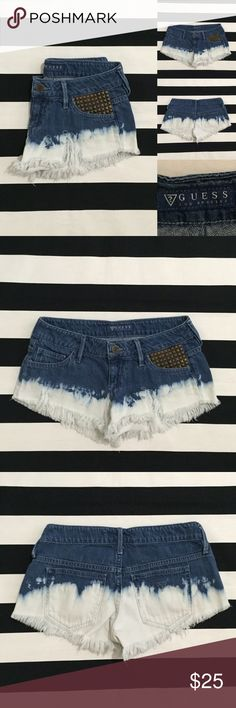 """[Guess] acid washed/dipped cutoff jean shorts sz23 [Guess] acid washed/dipped cutoff jean shorts sz23 •🆕listing •good used condition •acid washed, distressed cutoff denim with stud pocket detail •5 pocket, zipper fly •length/inseam 1.5-2"""" (ultra short) •material 100% cotton •photo to try to give idea of fit- (too small on me in waist) •offers welcomed using the offer button or bundle for the best discount• Guess Shorts Jean Shorts"""