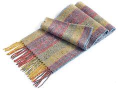 Studio Donegal Handwoven Merino Wool Tweed Scarf - Ochre Stripe Donegal, Plaid Scarf, Merino Wool, Tweed, Hand Weaving, Studio, Accessories, Style, Swag
