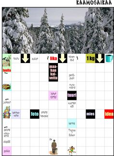 Kaamosaikaa-ristikko Counting, Printables, Shapes, Sun, Teaching, School, Colors, Print Templates, Colour
