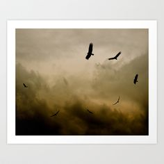 """Risselty, Rosselty - Named for the song the children sing in Hitchcock's """"The Birds."""" This image provokes a feeling of pending doom, with the spiral of circling vultures, against a stormy cloudy sky."""