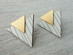 Iceland Post Earrings, Scandinavian geometric design, Shlomit Ofir
