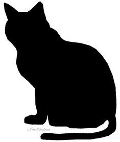 Black cat silhouette pumpkin carving stencil via squidoocdn Black Cat Silhouette, Silhouette Clip Art, Halloween Clipart, Halloween Cat, Group Of Cats, Cat Outline, Cat Template, Templates, Cat Quilt