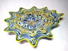 Because each platter is a unique work of art made individually by hand, slight variations of size, colors and patterns are possible and your one of a kind platter may differ from the picture. New Beautiful Hand Blown Glass Wall or Table Platter. Blown Glass Art, Beautiful Hands, Platter, Decorative Bowls, Wall, Artwork, Ebay, Work Of Art, Auguste Rodin Artwork
