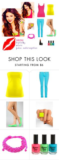 """""""Neon-Inspired by Victoria Justice"""" by nadia-angeline ❤ liked on Polyvore featuring H&M, Current/Elliott, Qupid, i.cco, Style Tryst and NARS Cosmetics"""