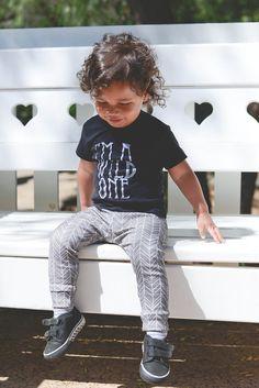 Organic Modern Gender Neutral Baby Boy Toddler Hand-Drawn Chevron Gray White Arrow Leggings Yoga Pants