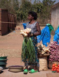 A roadside fruit and vegatable market on the road fron Zomba to Lilongwe, Malawi