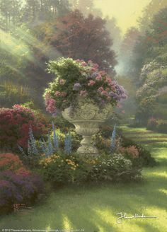 The Garden of Hope by Thomas Kinkade.  Hope is the great gift of a loving God. In The Garden of Hope, second in my Gardens of Light collection, I celebrate the bountiful blessing that is a hopeful spirit. Radiance bathes a garden in the woods, pouring down in a flood of light upon an ancient stone urn that is a vessel of hope. T. K.