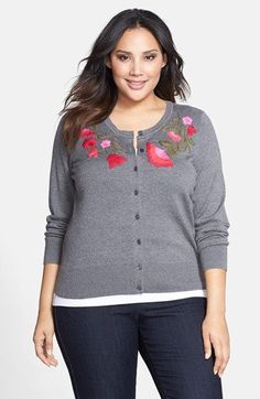 Sejour Embroidered Crewneck Cardigan (Plus Size) available at #Nordstrom